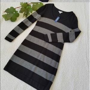 Old Navy black and silver stripe sweater dress